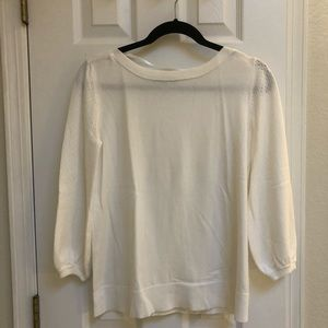 White sweater with sleeve detail